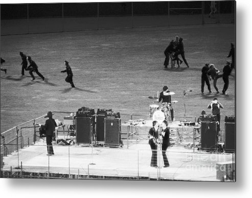Candlestick Park Metal Print featuring the photograph The Beatles In Concert by Bettmann