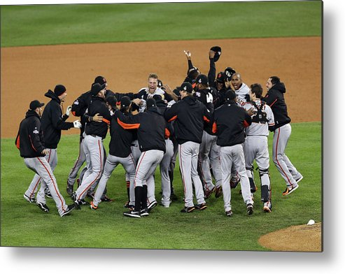 American League Baseball Metal Print featuring the photograph World Series - San Francisco Giants V by Christian Petersen