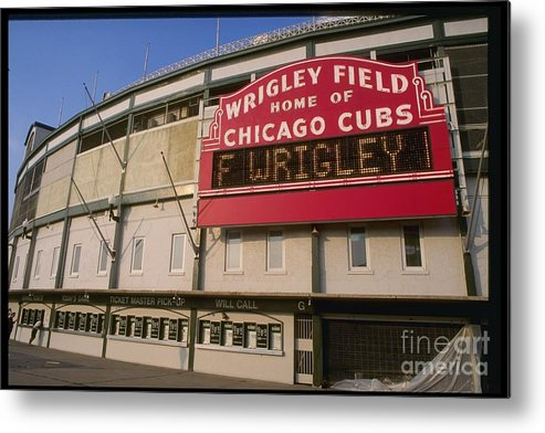 National League Baseball Metal Print featuring the photograph Wrigley Field by Jonathan Daniel