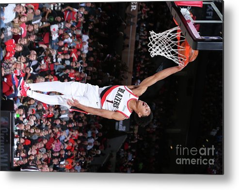 Nba Pro Basketball Metal Print featuring the photograph Denver Nuggets V Portland Trail Blazers by Sam Forencich