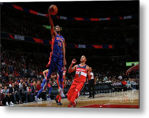Nba Pro Basketball Metal Print featuring the photograph Detroit Pistons V Washington Wizards by Ned Dishman