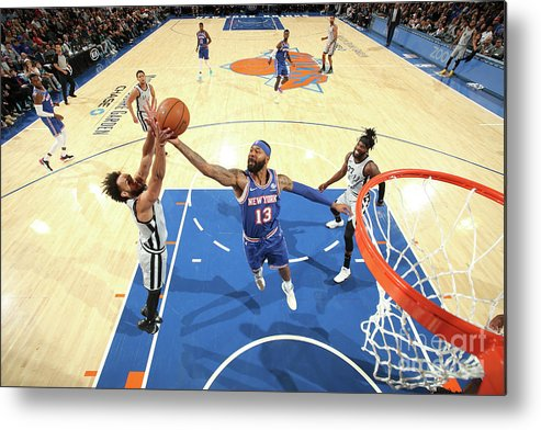 Nba Pro Basketball Metal Print featuring the photograph San Antonio Spurs V New York Knicks by Nathaniel S. Butler