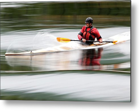 Sports Helmet Metal Print featuring the photograph Cedar Strip Kayak by Steve Glass