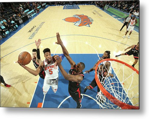 Nba Pro Basketball Metal Print featuring the photograph Toronto Raptors V New York Knicks by Nathaniel S. Butler