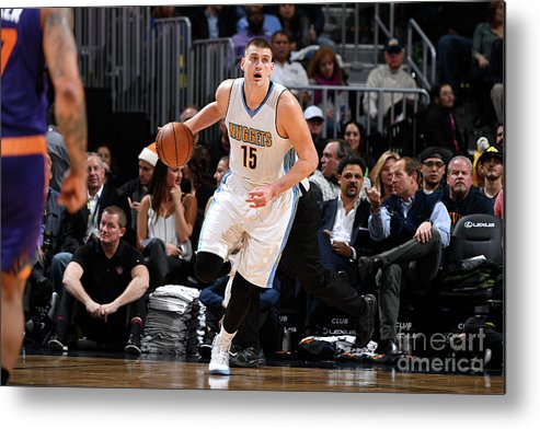 Nba Pro Basketball Metal Print featuring the photograph Phoenix Suns V Denver Nuggets by Garrett Ellwood