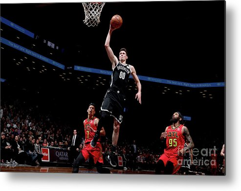 Nba Pro Basketball Metal Print featuring the photograph Atlanta Hawks V Brooklyn Nets by Nathaniel S. Butler