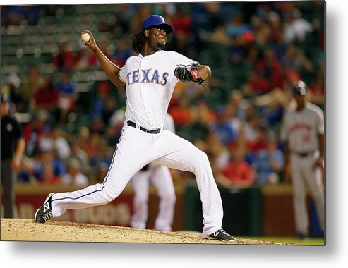 American League Baseball Metal Print featuring the photograph Houston Astros V Texas Rangers by Tom Pennington