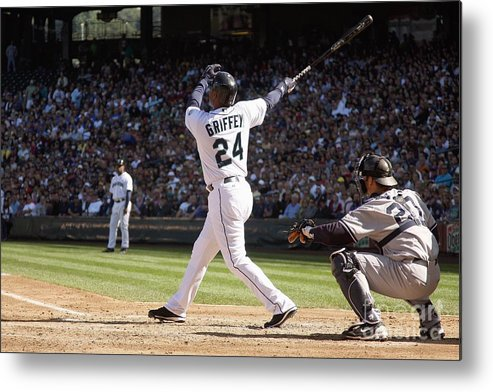 American League Baseball Metal Print featuring the photograph New York Yankees V Seattle Mariners by Otto Greule Jr