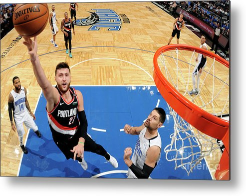 Jusuf Nurkić Metal Print featuring the photograph Portland Trail Blazers V Orlando Magic by Fernando Medina