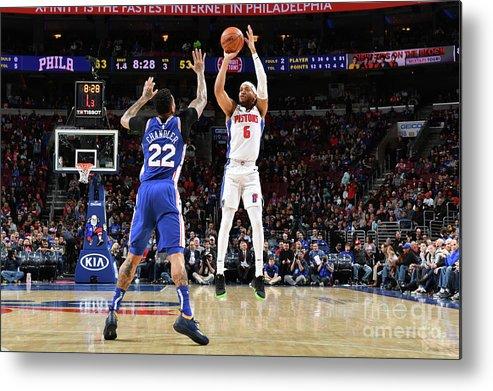 Nba Pro Basketball Metal Print featuring the photograph Detroit Pistons V Philadelphia 76ers by Jesse D. Garrabrant