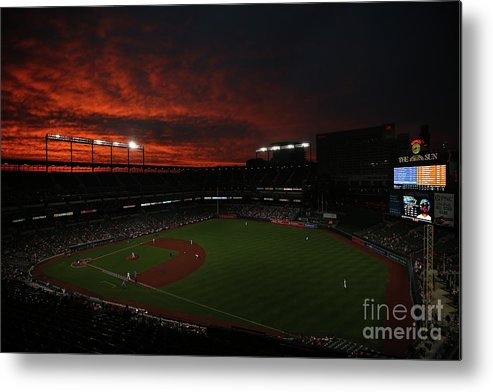 American League Baseball Metal Print featuring the photograph Toronto Blue Jays V Baltimore Orioles by Patrick Smith