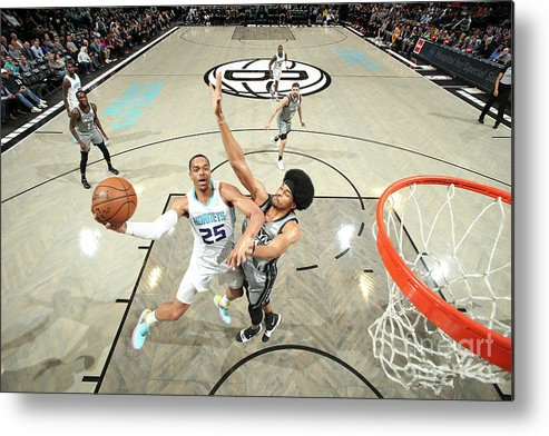 Nba Pro Basketball Metal Print featuring the photograph Charlotte Hornets V Brooklyn Nets by Nathaniel S. Butler