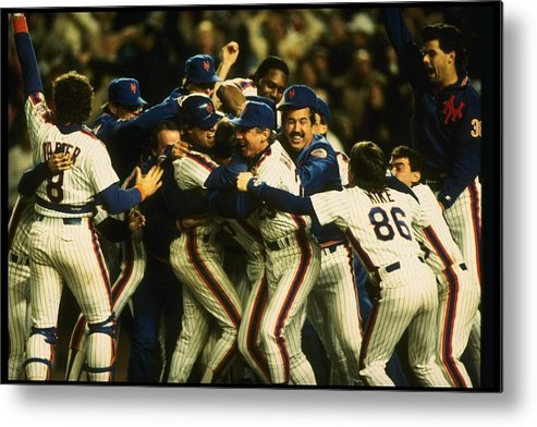 1980-1989 Metal Print featuring the photograph 1986 World Series Mets by T.g. Higgins