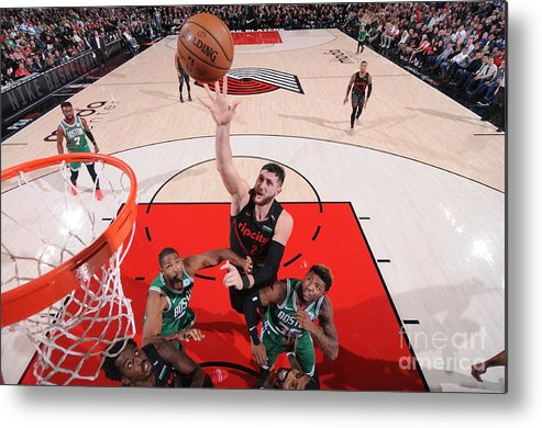 Jusuf Nurkić Metal Print featuring the photograph Boston Celtics V Portland Trail Blazers by Sam Forencich