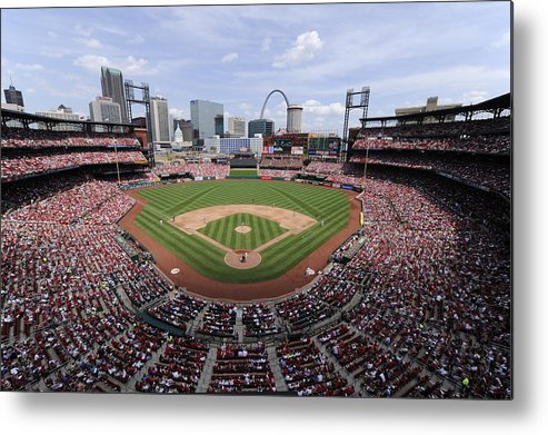 St. Louis Cardinals Metal Print featuring the photograph Cincinnati Reds V. St. Louis Cardinals by Ron Vesely