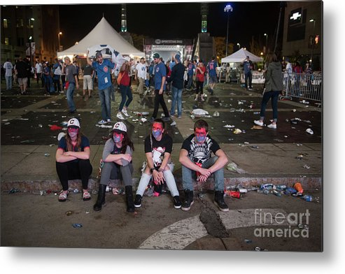 Sport Metal Print featuring the photograph Cleveland Indians Fans Gather To The by Justin Merriman