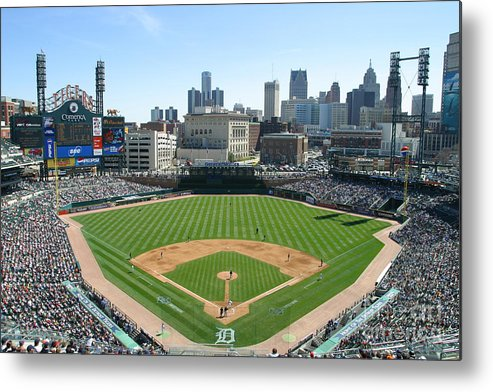 American League Baseball Metal Print featuring the photograph Cleveland Indians V Detroit Tigers by John Grieshop