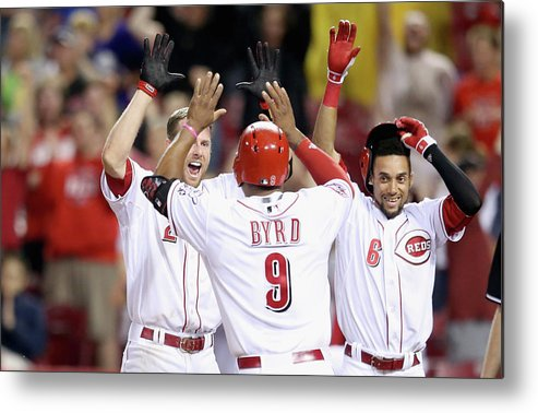 Great American Ball Park Metal Print featuring the photograph Colorado Rockies V Cincinnati Reds by Andy Lyons