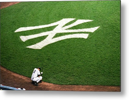Grass Metal Print featuring the photograph Derek Jeter 2 by Jamie Squire