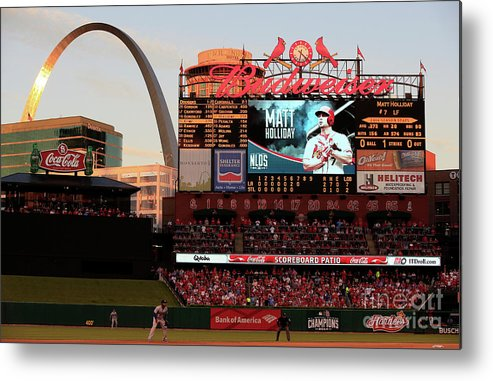 American League Baseball Metal Print featuring the photograph Division Series - Los Angeles Dodgers V by Jamie Squire