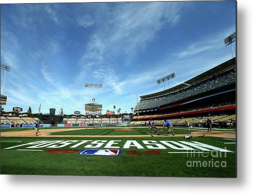 American League Baseball Metal Print featuring the photograph Division Series - St Louis Cardinals V by Stephen Dunn