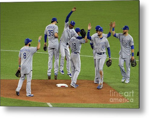 American League Baseball Metal Print featuring the photograph League Championship - Kansas City by Vaughn Ridley
