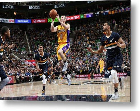 Nba Pro Basketball Metal Print featuring the photograph Los Angeles Lakers V Utah Jazz by Melissa Majchrzak