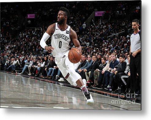 Nba Pro Basketball Metal Print featuring the photograph Miami Heat V Brooklyn Nets by Nathaniel S. Butler
