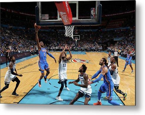 Nba Pro Basketball Metal Print featuring the photograph Minnesota Timberwolves V Oklahoma City by Zach Beeker