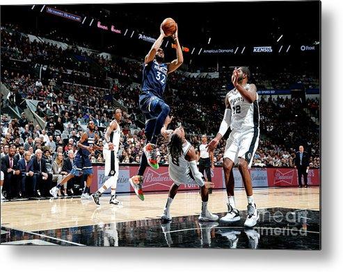 Nba Pro Basketball Metal Print featuring the photograph Minnesota Timberwolves V San Antonio by Chris Covatta