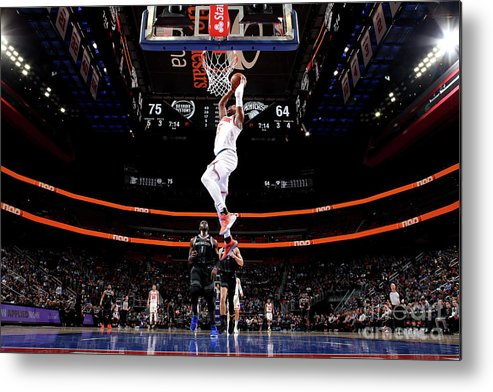 Nba Pro Basketball Metal Print featuring the photograph New York Knicks V Detroit Pistons by Brian Sevald