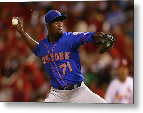 Relief Pitcher Metal Print featuring the photograph New York Mets V St. Louis Cardinals by Dilip Vishwanat