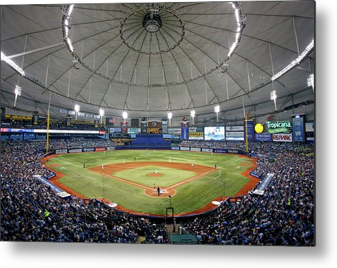 American League Baseball Metal Print featuring the photograph New York Yankees V Tampa Bay Rays by Brian Blanco