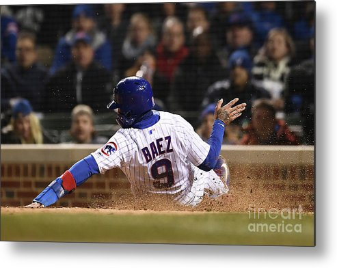 People Metal Print featuring the photograph Pittsburgh Pirates V Chicago Cubs by Stacy Revere