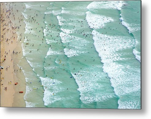 Water's Edge Metal Print featuring the photograph Swimmers And Surfers On Beach, Aerial by Jason Hawkes