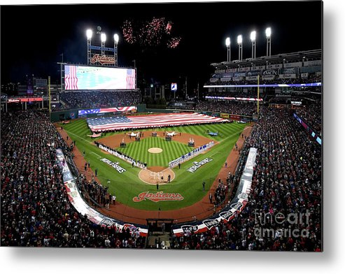 American League Baseball Metal Print featuring the photograph World Series - Chicago Cubs V Cleveland by Jason Miller