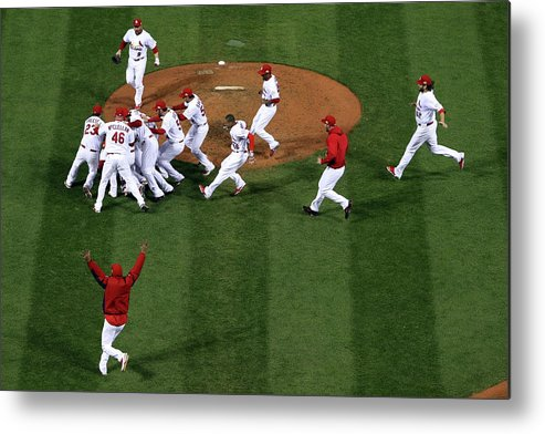 St. Louis Cardinals Metal Print featuring the photograph 2011 World Series Game 7 - Texas by Doug Pensinger