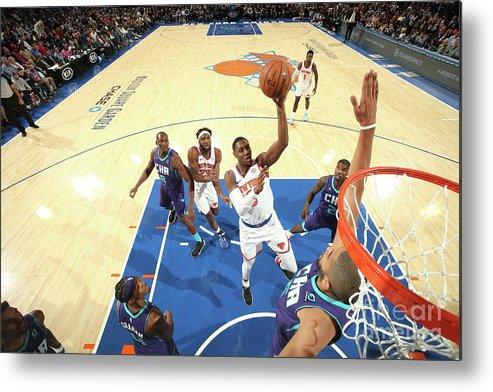 Nba Pro Basketball Metal Print featuring the photograph Charlotte Hornets V New York Knicks by Nathaniel S. Butler