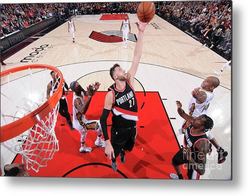 Jusuf Nurkić Metal Print featuring the photograph New Orleans Pelicans V Portland Trail by Sam Forencich