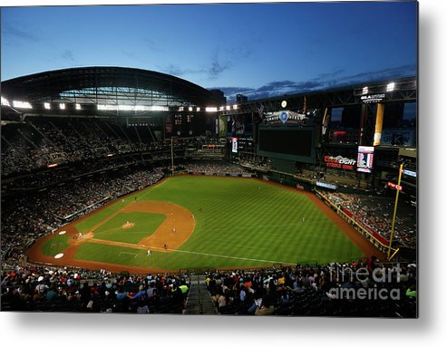 American League Baseball Metal Print featuring the photograph San Francisco Giants V Arizona by Christian Petersen