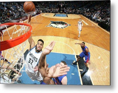 Nba Pro Basketball Metal Print featuring the photograph Detroit Pistons V Minnesota Timberwolves by David Sherman