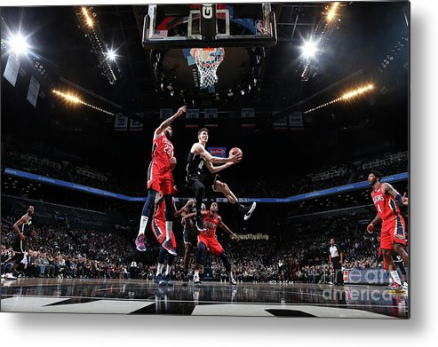 Nba Pro Basketball Metal Print featuring the photograph New Orleans Pelicans V Brooklyn Nets by Nathaniel S. Butler