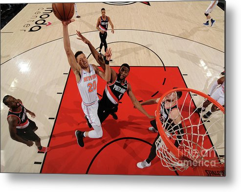 Nba Pro Basketball Metal Print featuring the photograph New York Knicks V. Trail Blazers by Cameron Browne