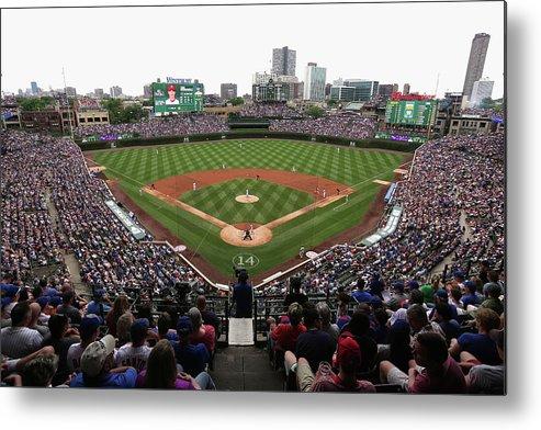 American League Baseball Metal Print featuring the photograph Philadelphia Phillies V Chicago Cubs by Jonathan Daniel