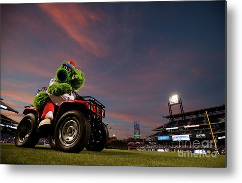American League Baseball Metal Print featuring the photograph Washington Nationals V Philadelphia by Rich Schultz