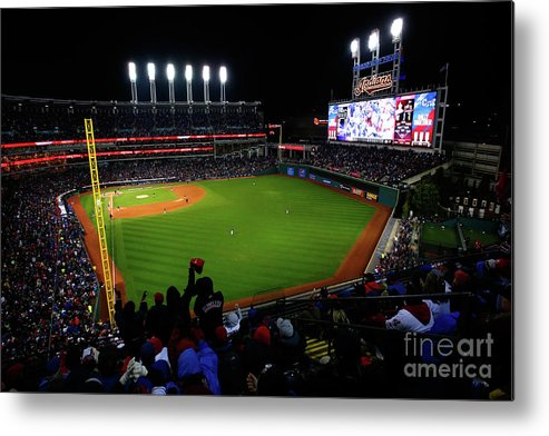 Game Two Metal Print featuring the photograph World Series - Chicago Cubs V Cleveland by Jamie Squire