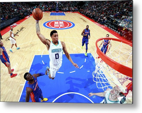 Nba Pro Basketball Metal Print featuring the photograph Charlotte Hornets V Detroit Pistons by Brian Sevald