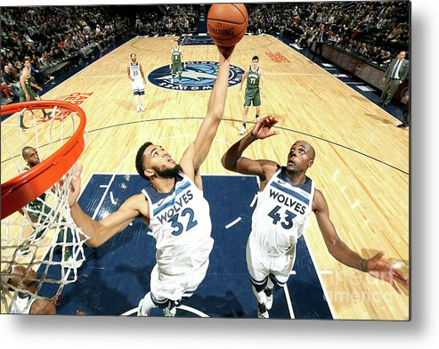 Nba Pro Basketball Metal Print featuring the photograph Milwaukee Bucks V Minnesota Timberwolves by David Sherman