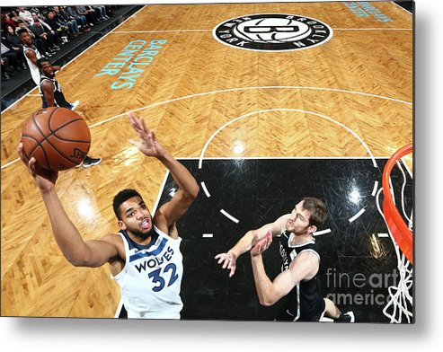 Nba Pro Basketball Metal Print featuring the photograph Minnesota Timberwolves V Brooklyn Nets by Nathaniel S. Butler