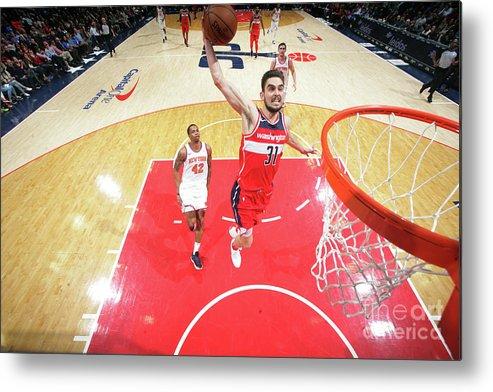 Nba Pro Basketball Metal Print featuring the photograph New York Knicks V Washington Wizards by Ned Dishman